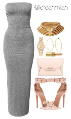 """grey x baby pink."" by loreanmilan ❤ liked on Polyvore featuring Club L, Alaïa, Givenchy, Rolex, Jennifer Fisher, Yves Saint Laurent and Balmain"