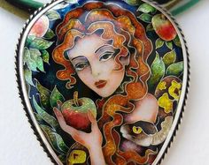 Eve and the snake. Pendant. Jewelry, Cloisonne enamel. Jewelry. Sterling silver.