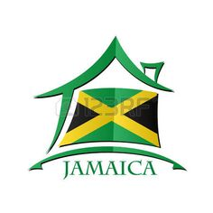 Casa icono hecho de la bandera de Jamaica