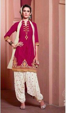 Magenta Color Cotton Straight Cut Stitched Patiyala Suit with Dupatta… #Heenastyle #Punjabisuit #Salwarsuit, #SalwarKameez, #Dreses, #Patiyala