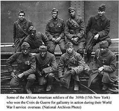 Some of the African American soldiers of the 369th (15th New York)who won the Croix de Guerre for gallantry in action during their World War I service overseas