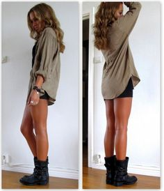 big shirt with short black mini skirt.