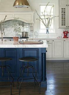 blue accent in white kitchen. brass or black hardware?