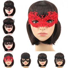 1Pcs Halloween Girls Women Black Red White Sexy Lady Lace Masks for Masquerade Party Fancy Dress Costume * More info could be found at the image url.