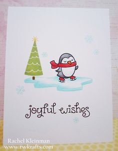 Lawn Fawn - Winter Penguin, Snow Day, Critters in the Arctic, Joy to the Woods _ pretty one-layer card by Rachel via Flickr - Photo Sharing!
