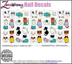 Cats and Butterflies Nail Decals