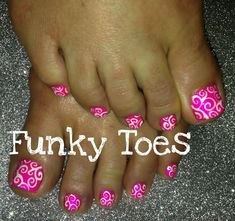 Toenail art: Pink with white swirls, LOVE LOVE LOVE! But only on the big toe, not all toes. Toenail Art Designs, Pedicure Designs, Pedicure Nail Art, Toe Nail Art, Pink Pedicure, Pretty Pedicures, Pretty Nails, Pretty Toes, Purple Glitter Nails
