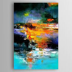 Handgeschilderde Abstract Verticaal,Modern Eén paneel Canvas Hang-geschilderd olieverfschilderij For Huisdecoratie
