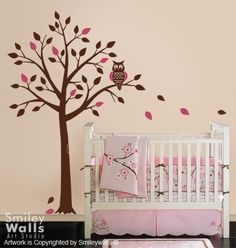 Tree and Cute Owl - Wall Decal for Nursery