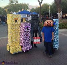 Tanya: This entry is for the group costume. Both my kids and my friends kids wanted to do a minecraft theme for Halloween. So I ended up creating 3 creeper outfits...