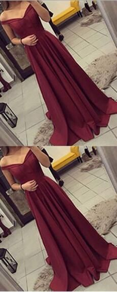 Off The Shoulder Prom Dress, Simple Party Dress Long, Burgundy Prom Dress, Long Prom Dresses,2017 Prom Gown · SheDress