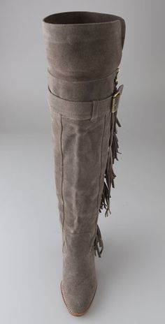 Jeffrey Campbell Dallas Over The Knee Suede Boots in Gray ~ Front view