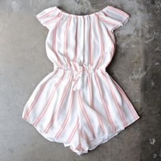 reverse - striped off-the-shoulder romper - shophearts - 1