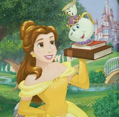 Belle with mrs. potts the teapot and chip the teacup with books. Disney Nerd, Disney Movies, Disney Characters, Disney Girls, Beast's Castle, Mickey Mouse, Young Prince, Princesa Disney, I Still Love You