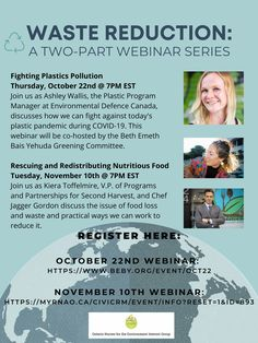Join these two part Webinars! Register for the October 22nd Webinar Register for the November 10th Webinar Waste Reduction, Plastic Pollution, Environmental Health, Nurses, November, Join, Education, November Born, Being A Nurse