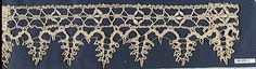 Edging Date: 16th century Culture: Italian Medium: Bobbin lace Dimensions: 14 X 3 inches (35.6 x 7.6 cm) Classification: Textiles-Laces Credit Line: Gift of Mrs. Robert W. de Forest, 1906 Accession Number: 06.693.2
