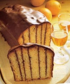 Countess Cake or Komtess Kuchen...Komteß-Kuchen. This unusual German cake is brushed with juice and Grand Marnier before being enveloped in a thin layer of semi-sweet chocolate ganache....recipe