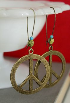 Big Antique Brass Peace sign earrings by tortugasdesign, $9.95