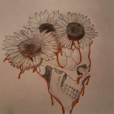 Custom skull and bleeding sunflowers flowers for a tattoo