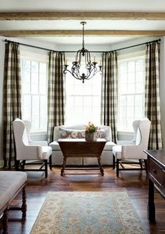 Buffalo check drapes...black & white... bay window. Like the furniture arrangement.