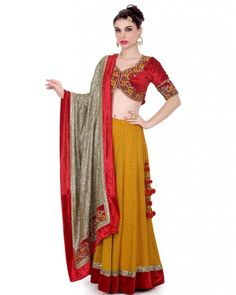 Deep Yellow Lehnga  Red velvet blouse with zardozi kasab stone resham embroidary work on it,yellow chanderi fabric ghaghra with red velvet sequence border on it, Gold sequence fabric duptta with embroidary work red velvet border on it.  Color : Deep Yellow  #Ootd #Potd #Qotd #Fashion #Shopping #WomenWear #IndianWear #Style #Blogger #Mumbai #Wedding #OutfitOfTheDay #Fashion #Anarkali #Traditional #Shopping #WomenWear #DesignerWear #Designer #FashionDesigner #IndianDesigner