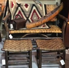 Old Hickory Settee with double foot stools and Eye Dazzler Navajho rug, Christibys booth
