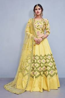 9ef28d96b Yellow embroidery art silk designer ethnic lehengas with matching blouse  wedding-lehenga Manish Malhotra Lehenga