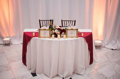 Sweetheart table with Burgundy Runner - Burgundy and Gold Wedding at the Orlando Museum of Art - Photo by Rudy and Marta Photography - www.orangeblossombride.com - click pin for more