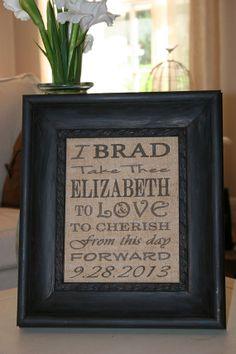 Monogram Custom Burlap Wedding Art Print  by TheBurlapBroad, $60.00