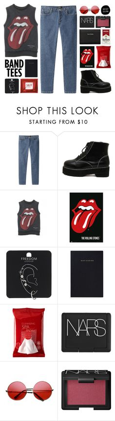 """It's only rock n roll but I like it - The Rolling Stones"" by pineapplefilles ❤ liked on Polyvore featuring A.P.C., WithChic, Comme des Garçons, Topshop, Mark's Tokyo Edge, Koh Gen Do, NARS Cosmetics, INDIE HAIR and Acne Studios"