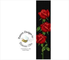 Red Rosebud Beaded Bracelet Cuff Loom or Square Stitch 34-B