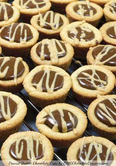 These Peanut Butter Chocolate Cups are delicious and simple mini desserts! Crispy peanut butter cookie cups filled with rich chocolate fudge. Mini Desserts, Cookie Desserts, Just Desserts, Cookie Recipes, Delicious Desserts, Dessert Recipes, Yummy Food, Cookie Cups, Dessert Healthy