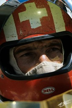 """Jo Siffert, German Grand Prix 1971 Nice Hand Painted Helmet"""". Racing safety has come SO far since those days..."""