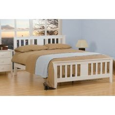 Gere White Wooden Double Bed Frame Very high quality white wooden bedframe with a pure white finish White King Size Bed, Wooden King Size Bed, White Wooden Bed, Wooden Double Bed, Wooden Bed Frames, Wood Beds, 4ft Beds, Headboard Designs, Thing 1