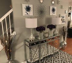 Take the Wayfair . Blue Living Room Decor, Glam Living Room, Elegant Living Room, Home Decor Bedroom, Living Room Designs, Elegant Home Decor, Home Decor Inspiration, Foyer Table Decor, Glam House
