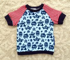 Handmade sweet baby boy T-shirt monsters blue by NoNiMadewithlove