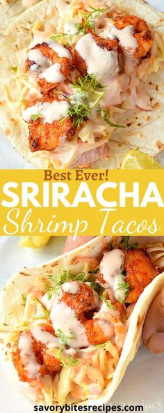 Try this amazing,delicious,easy and best spicy sriracha shrimp tacos recipe,which can fix lunch/dinner under 30 mins with cilantro lime slaw and creamy sriracha sauce makes these shrimp tacos the best. #savorybitesrecipes #spicysrirachashrimptacos #spicyshrimptacos #cilantrolimeslaw #shrimptacos #easyrecipe #Mexican #Shrimp #tacos #seafood Fish Recipes, Seafood Recipes, Mexican Food Recipes, Dinner Recipes, Cooking Recipes, Healthy Recipes, Yummy Food, Tasty, Shrimp Tacos