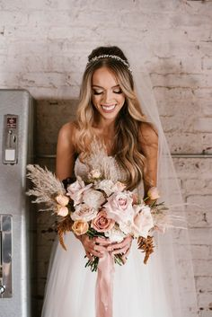 Pampas Grass and Blush Accents - An Industrial Chic Wedding at The Engine Room - Engaged Life Loft Wedding, Boho Wedding Dress, Chic Wedding, Wedding Bride, Wedding Dresses, Wedding Bouquets, Wedding Ceremony, Blush Wedding Flowers, Bridesmaid Flowers
