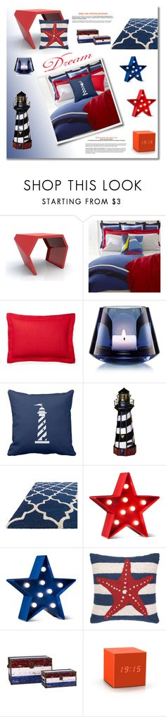 """""""Red, White & Blue Bedroom"""" by riri-thatsme ❤ liked on Polyvore featuring interior, interiors, interior design, home, home decor, interior decorating, Ralph Lauren Home, Ralph Lauren, Baccarat and Meyda"""