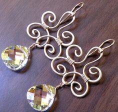 Swarovski Crystal Wire Wrapped Matte Gold Earrings