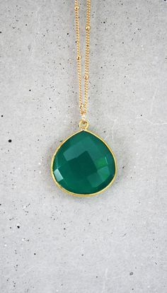 Emerald Green Onyx 14k Gold Filled Necklace by shopkei on Etsy, $52.00