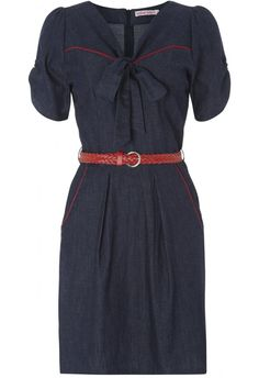 This seriously Va Va Voom shaped dress with a cute neck bow this flattering, figure hugging yet demure cut will see them flocking to you!  Fabric: Soft denim