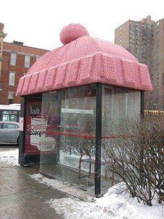Bus stop yarn bomb hat