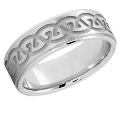 Etched Celtic Wedding Band in 14K White Gold