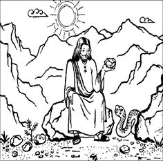 The Devil Tempting Jesus in the Desert coloring page. Also