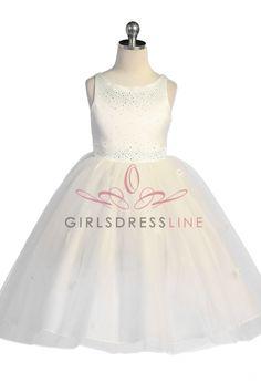 Ivory Sleeveless Satin Flower Girl Dress with Sparkles KC-D1110I on www.GirlsDressLine.Com