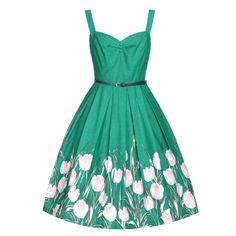 Bernice Turquoise Tulip Swing Dress   Vintage Style Dresses - Lindy Bop