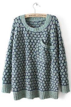 Blue Long Sleeve Pineapple Pattern Pocket Sweater