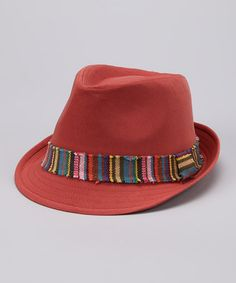 ddb4a8bef8a Take a look at this Orange Stripe Band Fedora by Capelli New York on  zulily