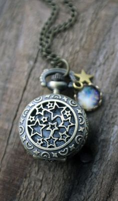 Moon + stars pocket watch